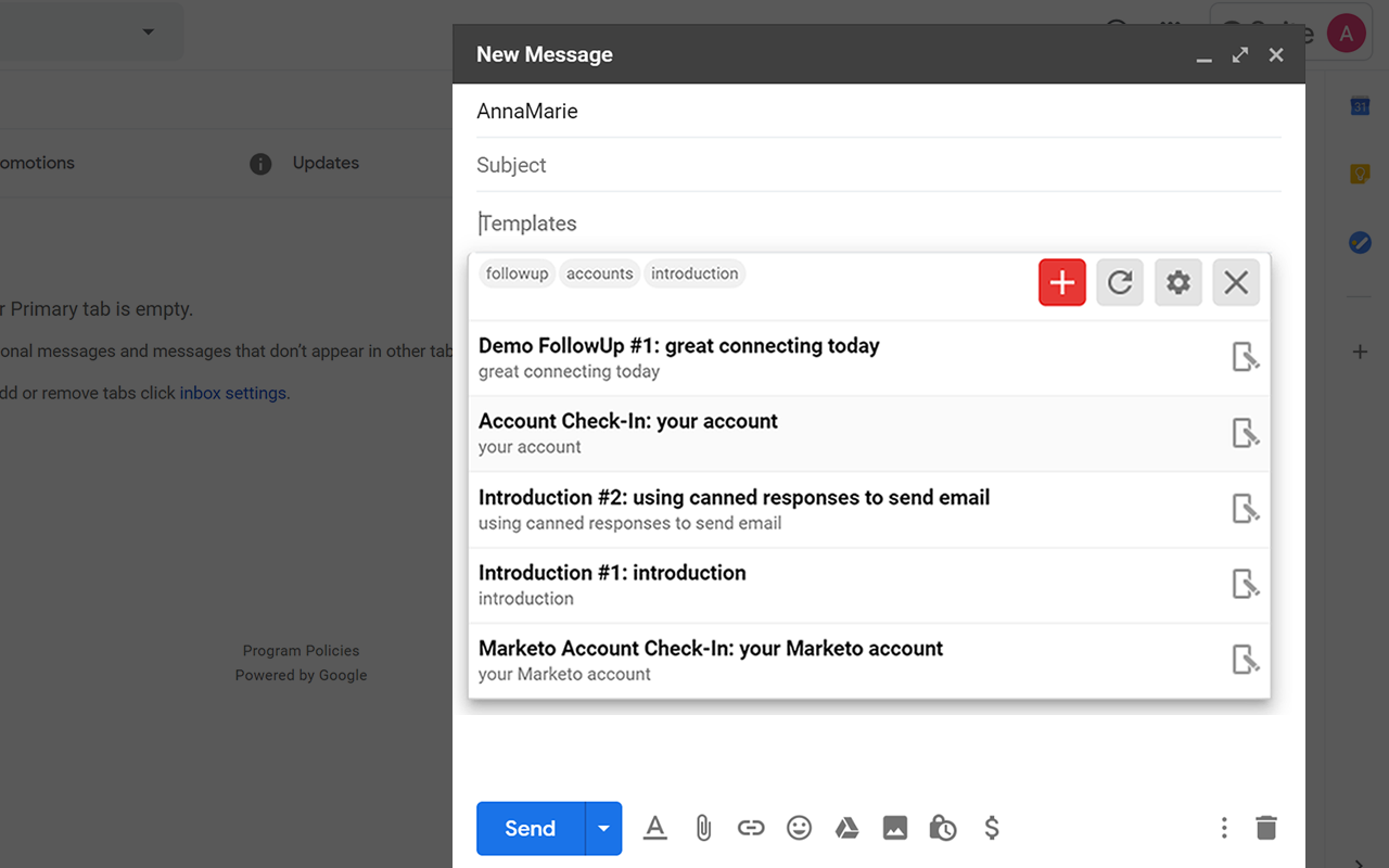Gmail Email Templates Panel Open