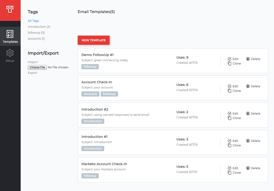 Gmail Templates Dashboard